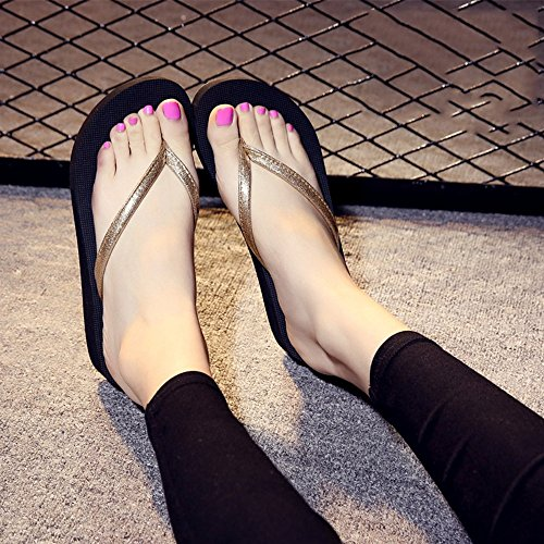 Azul Plata cómodo MEIDUO sandalias de Ooutdoor Negro femenino antideslizantes Rosa verano Oro Zapatillas Oro Chanclas para S6qxdOO