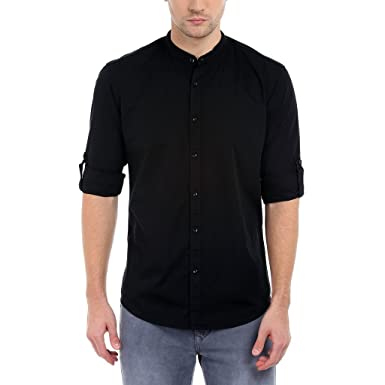 Dennis Lingo Men's Solid Casual Full Sleeves Black Cotton Shirt ...