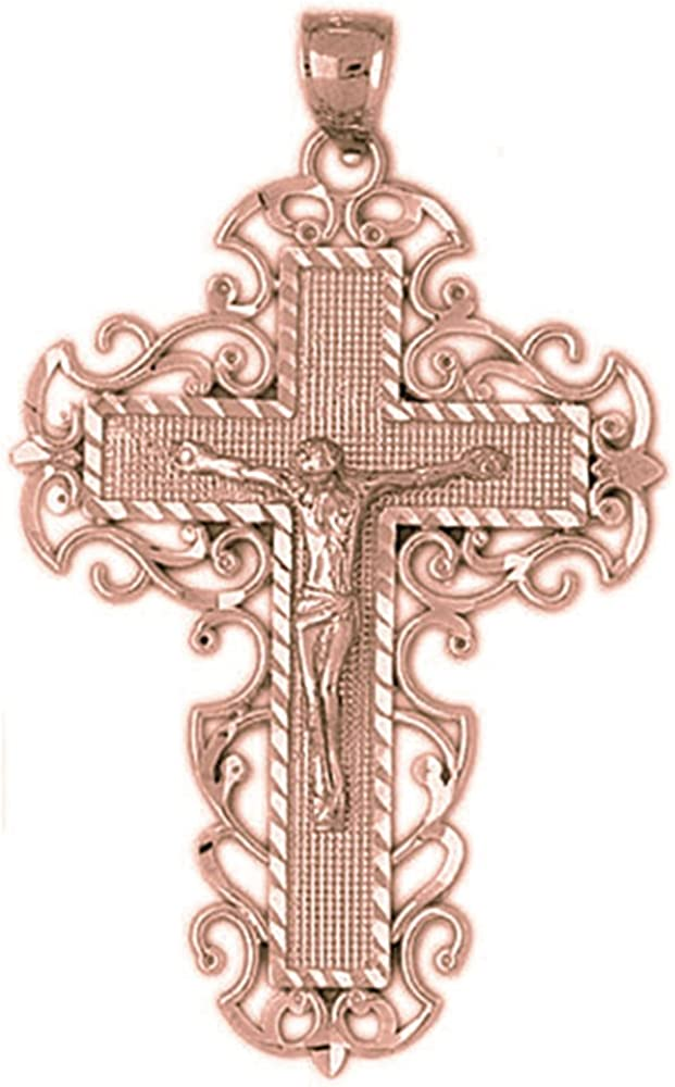 33 mm Jewels Obsession Solid 14K Rose Gold Cross Pendant