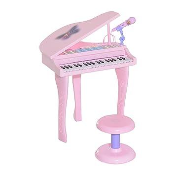 HOMCOM Piano Infantil 37 Teclas Teclado Electrónico Juego de Piano con Micrófono Taburete Luces y 22