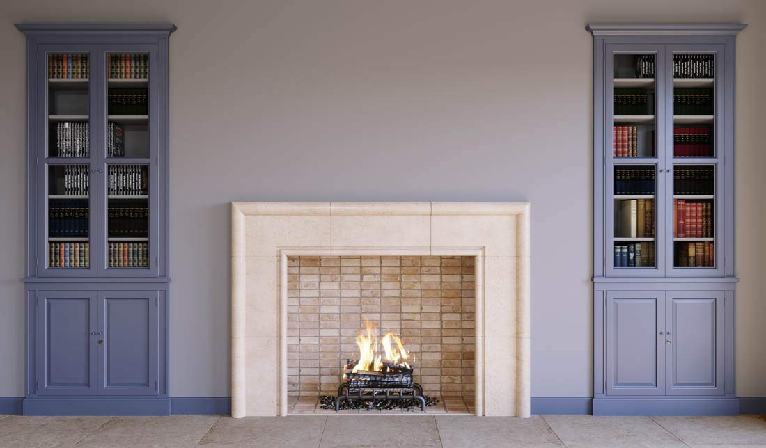 Monza Modern Real Stone Fireplace Mantel and Surround 42 Inches x 36 Inches Wood Burning Fireplace Cream Limestone by Custom Fireplaces