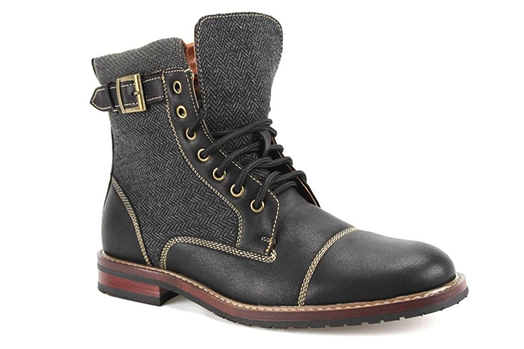 Polar Fox Men's 808566 Calf High Two Tone Military Style Lace Up Casual Boots Black 7.5 Polar-808566-Blk522Sz7.5