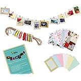 Bundle Monster Kit de décoration murale avec cadres photos, mini pinces à linge et autocollants Pour photos 10 x 15 cm