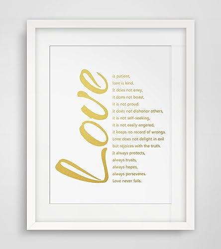 Amazoncom Love Quotes Gold Poster Fine Art Paper 1 Corinthians 13