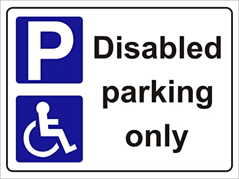 casual shoes various design fashion style Disabled Parking Only Sign 300mm x 200mm rigid 3mm sign
