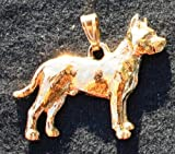 Pit Bull Dog 24k Gold Plated Pewter Pendant