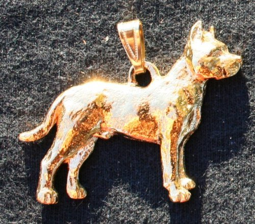Pit Bull Dog 24k Gold Plated Pewter Pendant by George Harris