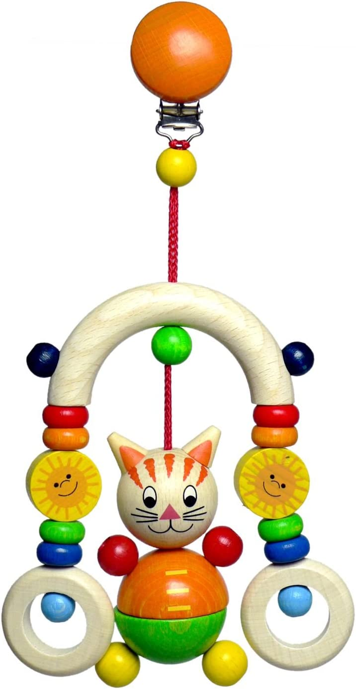 Hess Wooden Baby Toy Mini Trapeze Cat Mika Clip On
