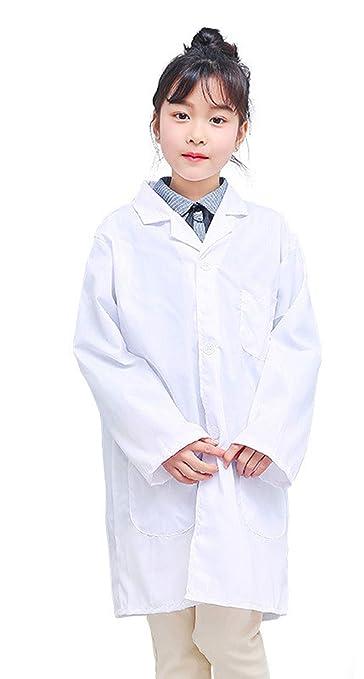 Lab Coat Uniforme,Bata Blanca Bata de Laboratorio Traje Disfraz de Doctor Enfermera Cocinero Chaqueta para Niño Niña Unisex Cosplay Uniforme