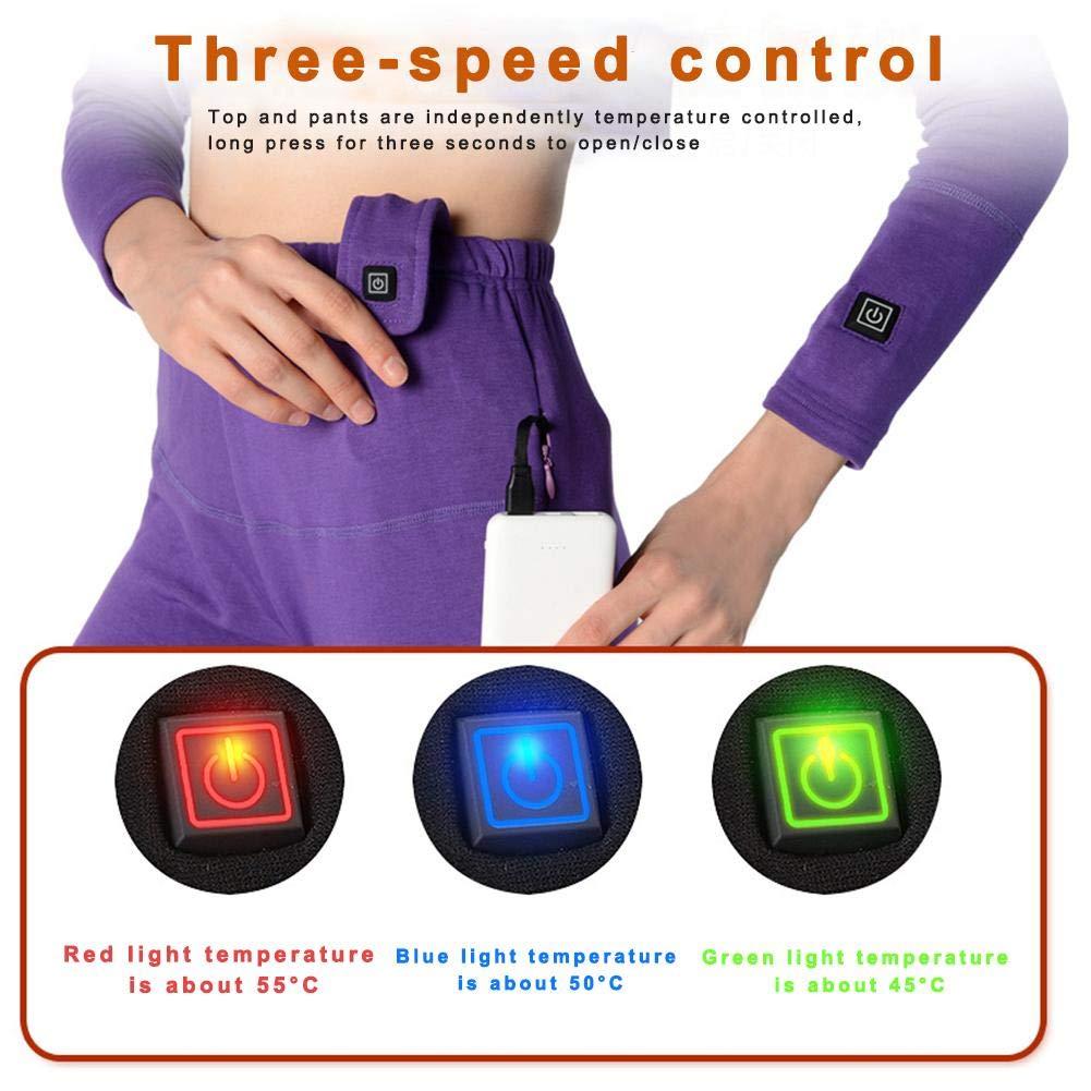 unisexe dessus chauffant et pantalon USB ensemble de v/êtements chauds chauffants rechargeables rechargeables en fibre de carbone chauff/ée Ensemble de sous-v/êtements chauffants /électriques