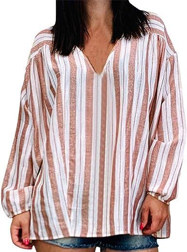 Camisa de Manga Larga con Estampado de Rayas otoñales para Mujer Blusas Casuales Tops: Amazon.es: Ropa y accesorios