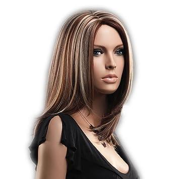 Neu Per¹cke Braun And Blond Glatt Schulter Lang Haar Wigs Weiblich