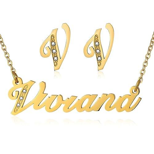 Acero inoxidable Adisaer collar nombre Viviana pendientes ...