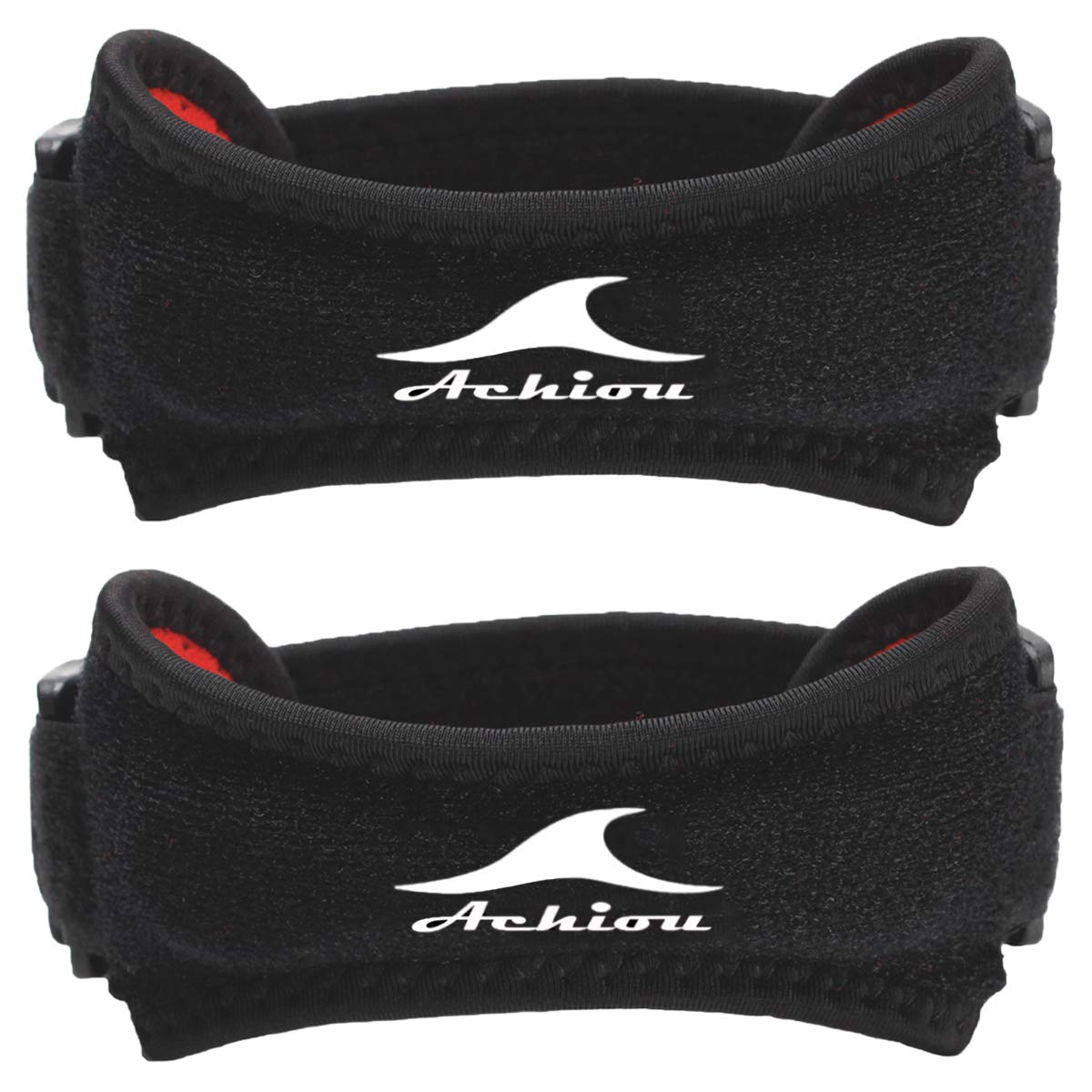 Achiou 2 Pack Patella Knee Strap for Protect Patellar Tendon Unique Silicone Support Adjustable Band for Pain Relief,Tendonitism,Running,Hiking,Weightlifting,Basketball,Volleyball,Black