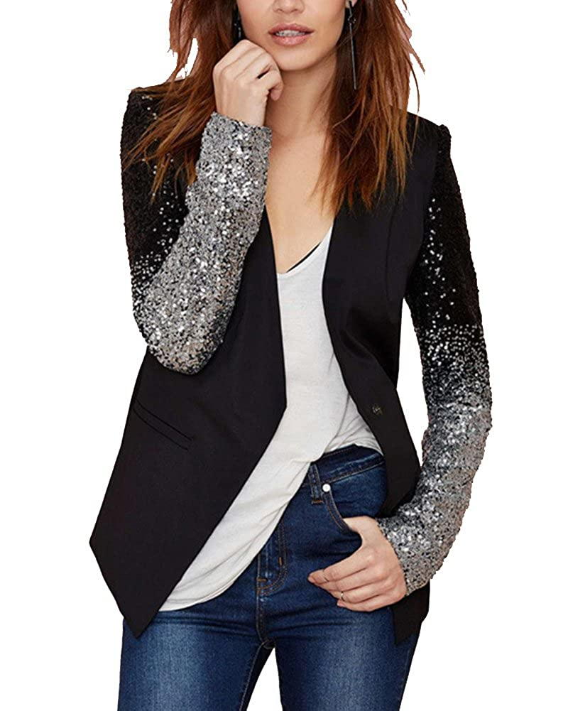 Kasen Mujeres Blazers Negocio Abrigo Lentejuela Cardigans OL Chaqueta Coat Cloak Blusas