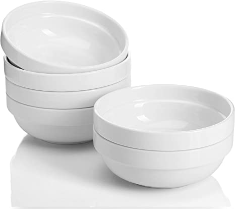 Sweese 119 001 Porcelain Stackable Bowls 20 Ounce For Cereal Salad Set Of 6 White Cereal Bowls