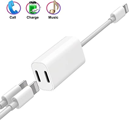 Apple MFi Certified 2Pack Lightning to 3.5 mm Headphone Jack Adapter for iphone,Earbuds Jack Adapter Aux Cable Earphones With Music Control Compatible with iPhone 11// X//8 P//7//7 P//iPad Support iOS 13