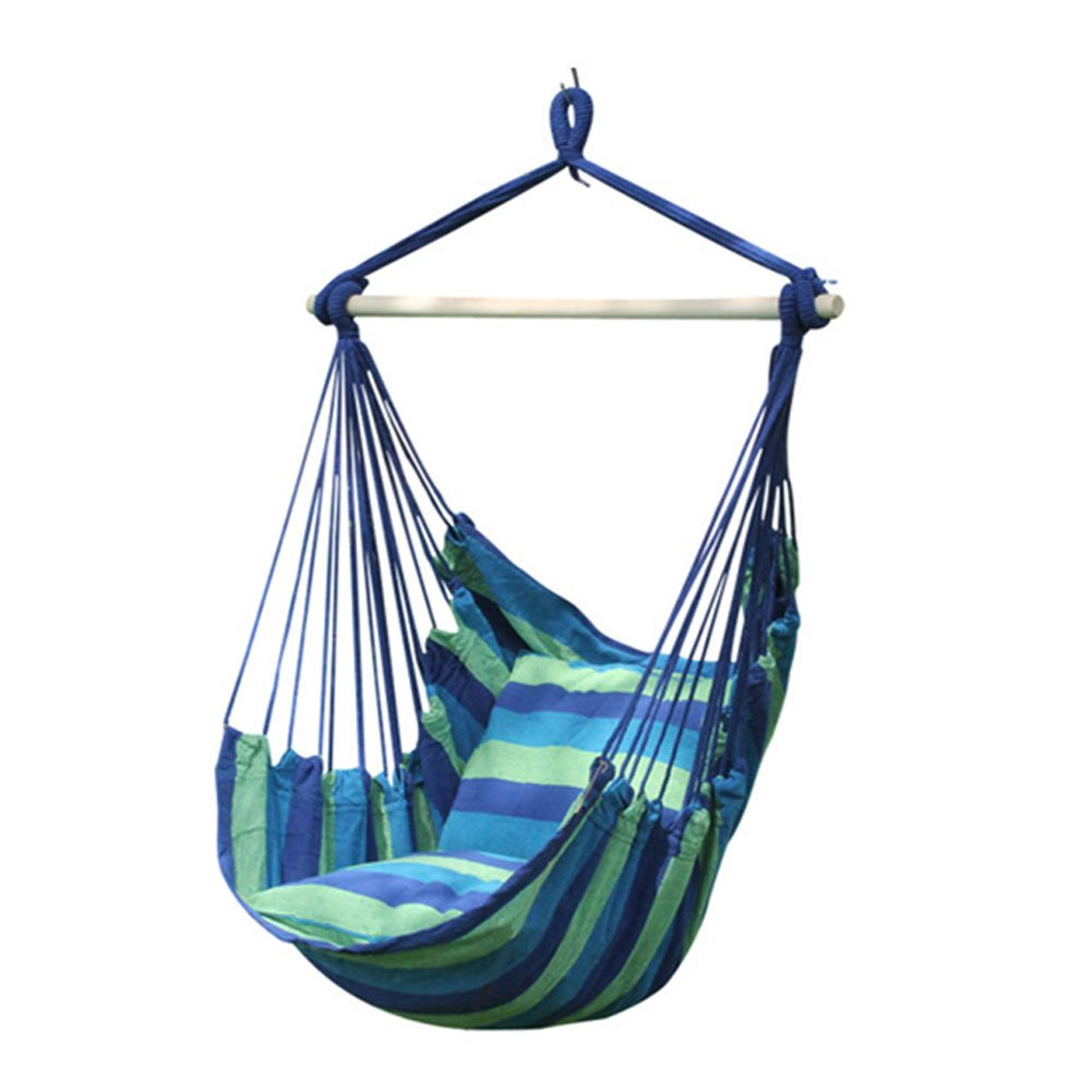 hanging cloth chair | 1 person hammock swinging cloth seat | canvas swing chair 100x130 cm | 100% cotton | Hammock incl. safety swivel | Multicolor Generic