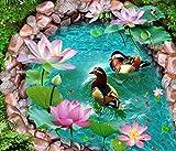 BZDHWWH 3D Flooring Custom 3D Wallpaper for Living Room Mandarin Ducks 3D Floor Self Adhesive Vinyl Wallpaper,60Cm X 90Cm