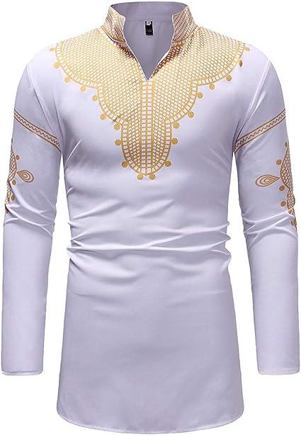 Dashiki - Camiseta de Manga Larga para Hombre, diseño Tribal Africano, Estilo étnico, Talla Grande - Blanco - Medium: Amazon.es: Ropa y accesorios