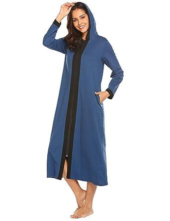 2751183b35a24a Doneto Lose Lange Nachthemd morgenmantel Maxikleid Einfarbig Freizeitkleid  blau