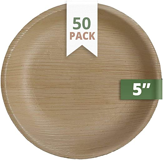 Catereco Round Palm Leaf 7 Salad Plates|12 Pack|Ecofriendly Disposable Dinnerware|Heavy Duty Biodegradable Party Utensils for Wedding Camping /& More