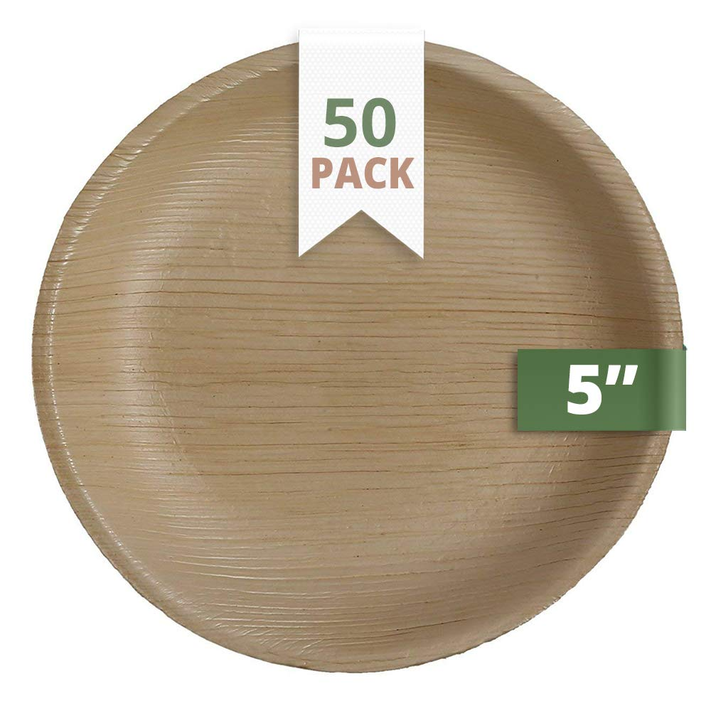 CaterEco 5-inch Round Palm Leaf Plates Set (50 Pack) | Ecofriendly Disposable Dinnerware | Heavy Duty Biodegradable Party Utensils for Wedding, Camping & More
