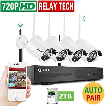 Inalámbrico Sistema de seguridad, 8 ch WIFI Kits NVR con 4 unidades 720P Día Noche