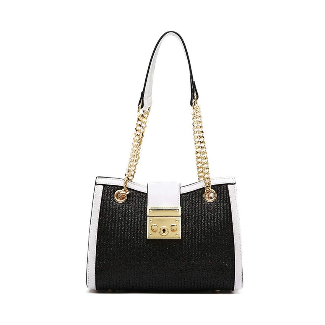 MAGAI PU Leinen Nähte Nähte Nähte Handtasche Hit Farbe Schulter Messenger Bag (Farbe   schwarz Weiß) B07PCSK4KQ Schultertaschen Preiszugeständnisse 064a25