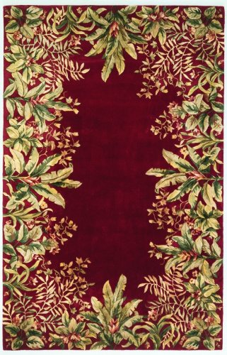 Kas Rugs 9017 Emerald Tropical Border Round Area Rug, 5-Feet 6-Inch, Ruby - Border Kas Rugs