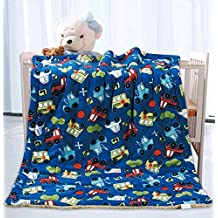 Elegant Home Kids Soft & Warm Sherpa Baby Toddler Boy Sherpa Blanket Multicolor Cars Trucks Buses Printed Borrego Stroller or Toddler Bed Blanket Plush Throw 40X50 # Cars