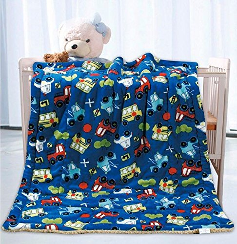Elegant Home Kids Soft & Warm Sherpa Baby Toddler Boy Sherpa Blanket Multicolor Cars Trucks Buses Printed Borrego Stroller or Toddler Bed Blanket Plush Throw 40X50 # Cars ()