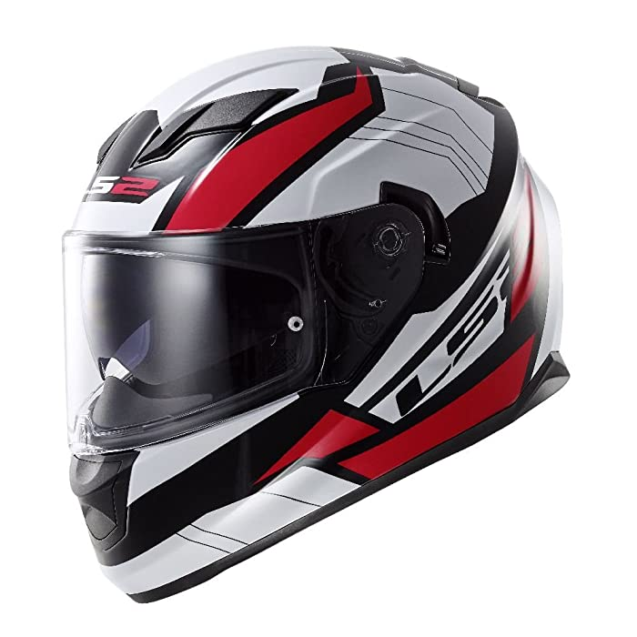 LS2 Stream Omega Full Face Motorcycle Helmet With Sunshield (Red, XX-Large)