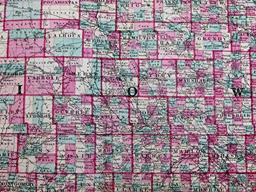 scarce state map 1870 Johnson antique large folio hand color ()