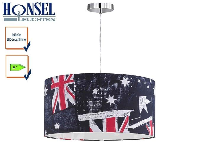 Lámpara colgante Lámpara Banner con LED, pantalla 50 cm de diámetro con Print Inglaterra Bandera