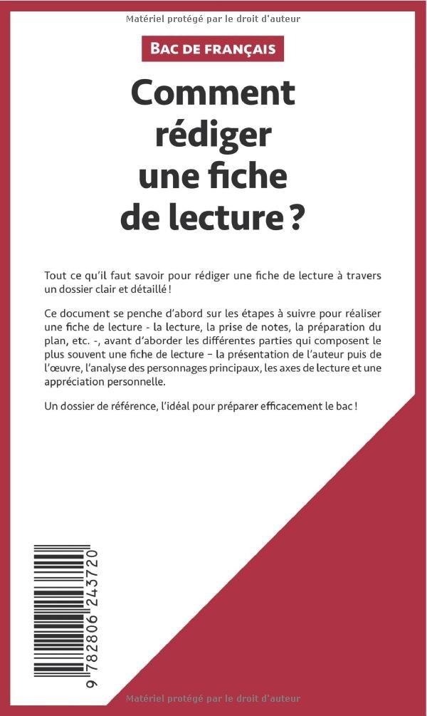 Bien connu Amazon.fr - Comment rédiger une fiche de lecture? (Fiche de cours  DX71