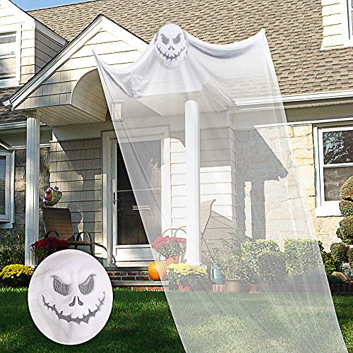 TALI 10ft Halloween Hanging Ghost Prop Hanging Skeleton Flying Ghost, Halloween Hanging Decorations Yard Outdoor Indoor Party Bar(White)