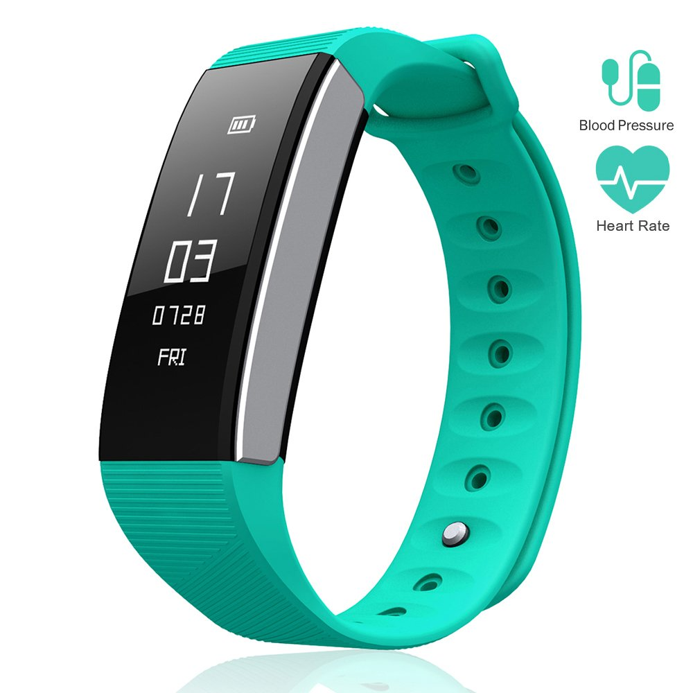 Le Pan Smart Watch Fitness Tracker, Bluetooth Blood Pressure Heart Rate Monitor, Pedometer, Touchscreen Sleeping Monitor, Smart Bracelet Water Resistant Silicone Bands Android iOS - Teal