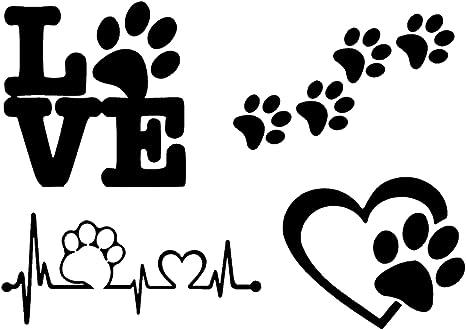 Pegatinas De Patas Patas De Perro Amor Con Una Pata Latido De Corazón De La Pata Huellas De Huellas De Patas Color Negro Home Kitchen