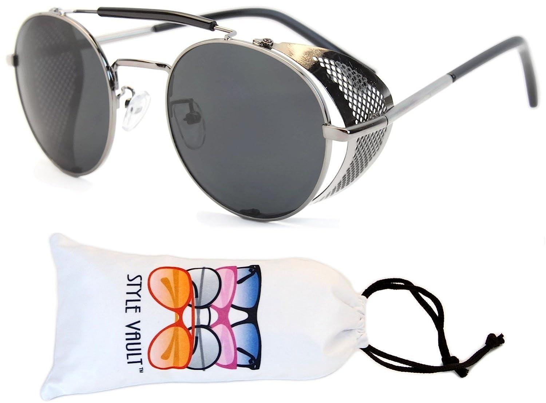 V168-vp Style Vault Steampunk Round Sunglasses