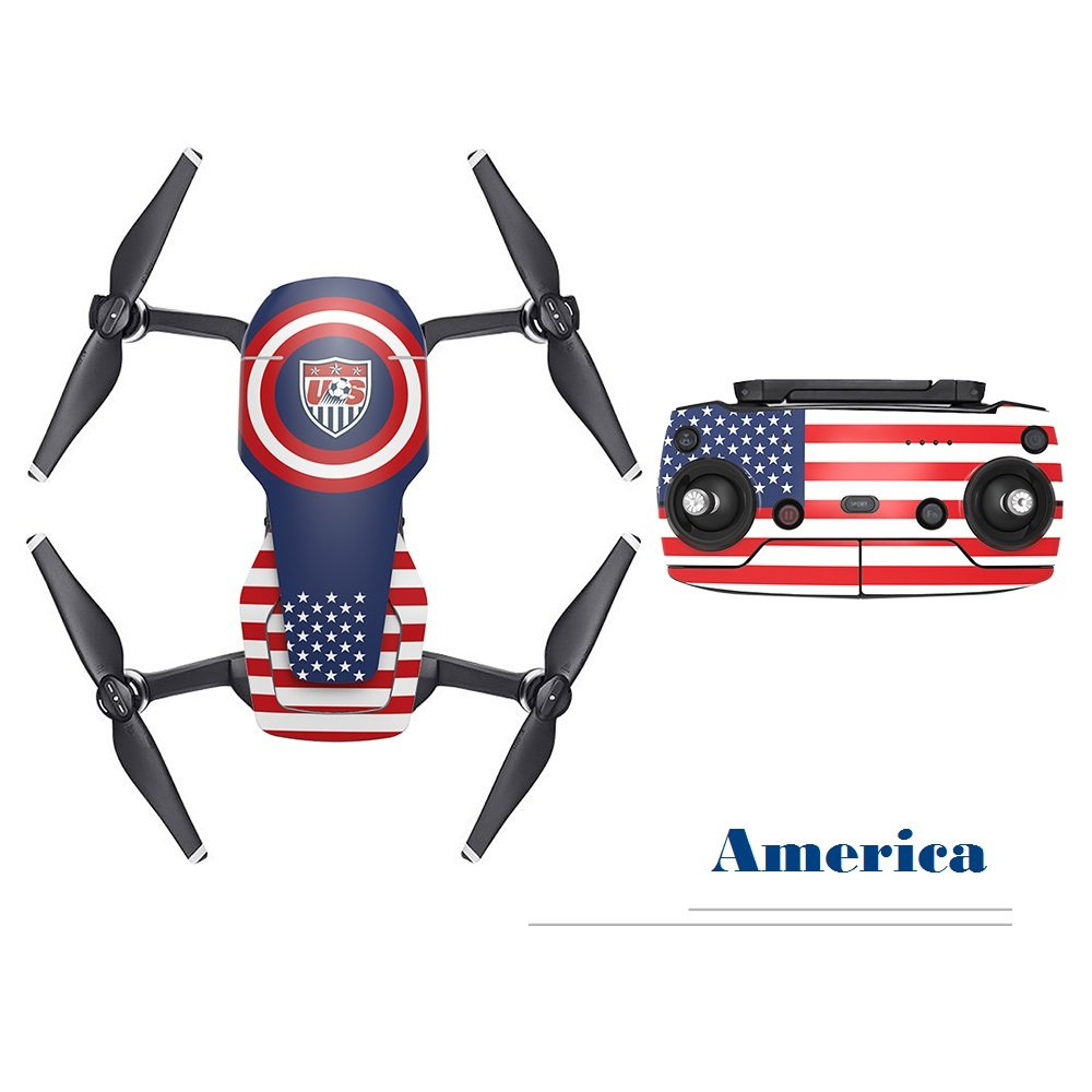 RCGEEK DJI Mavic Air Sticker Decal Newest Decoration Skin Compatible DJI Mavic Air Drone and Remote Controller with Nation Style(America)