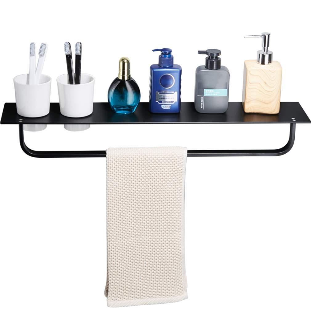 ZHAOHUI Bathroom shelf Shower Organiser Wall-mounted Space Aluminum Organizer Black Multifunction Storage Towel Rack, 62x12.5x7cm HUI HIU HOME