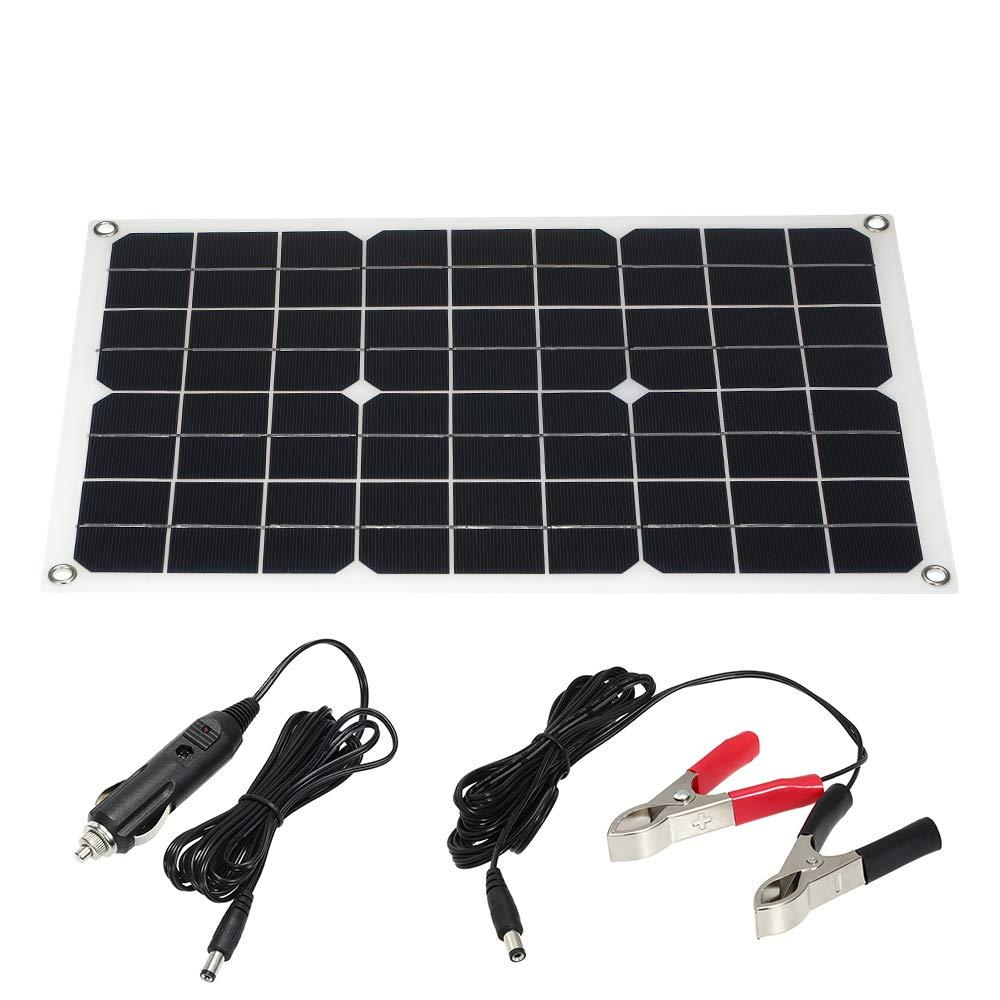 Galapara 30W 18V Flexible Monocrystalline Solar Panel - Dual Output Solar Power Energy with USB Interface High Conversion Rate + 30A Crocodile Clip +Cigarette Lighter Plug