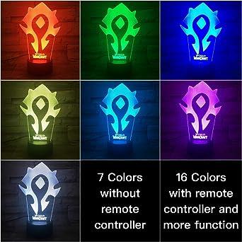 3DLED Illusion World of Warcraft Lion Letrero 7 colores Mesa Mesa ...