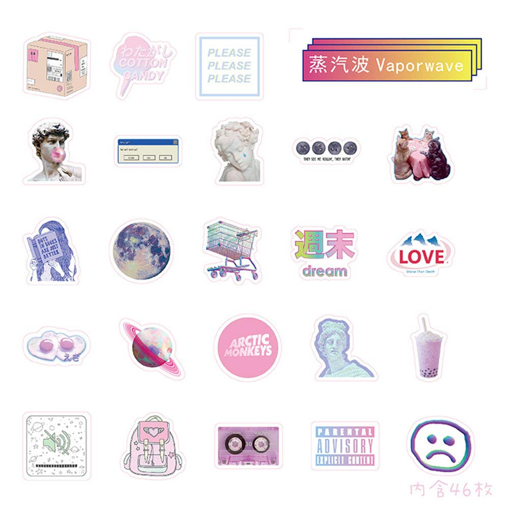 46Pcs Creative No Repeat Vaporwave Stickers, Self Adhesive DIY Craft Scrapbook Stickers Phone Laptop Bike Luggage Fridge Decor GOOTRADES