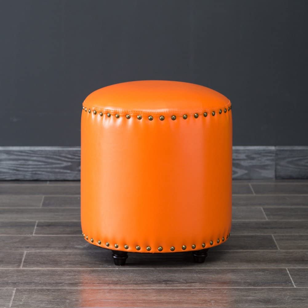 YQ WHJB Living Room Footstool,Ottoman Pouf,European Style Sofa Stool,Pu Leather Solid Wood Small Round Block Change Shoe Bench-Orange