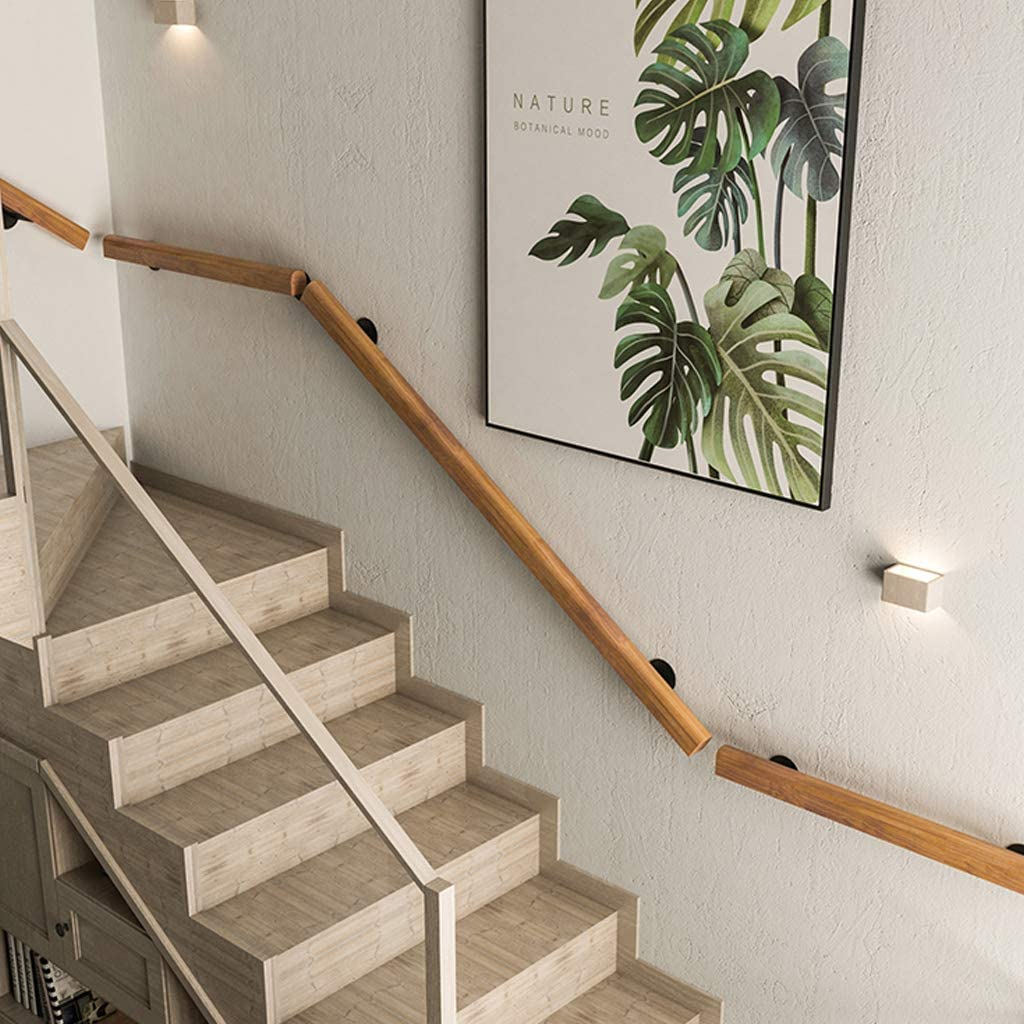 Home Indoors Wall Mount Banister Rail Wood//Pine Staircase Handrail Complete Kit 1ft-10ft