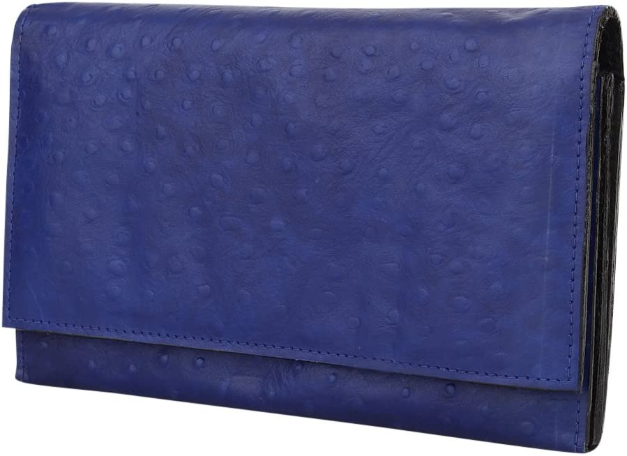 Blue Minimalist Cowhide Leather Wallet SD 010 Womens Genuine Leather Wallet Clutch