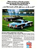 "1977 CHRYSLER CORP. DODGE CHARGER DAYTONA & CHRYSLER CORDOBA "" When you lease a Chrysler product..."" VINTAGE COLOR AD - USA - FANTASTIC ORIGINAL !!"
