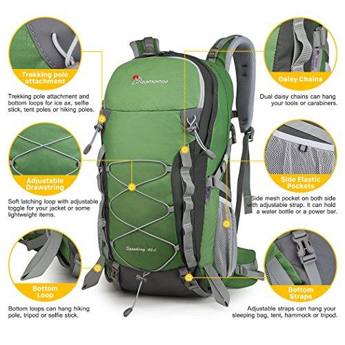 mountaintop 40 liter hiking backpack camping backpck. Black Bedroom Furniture Sets. Home Design Ideas